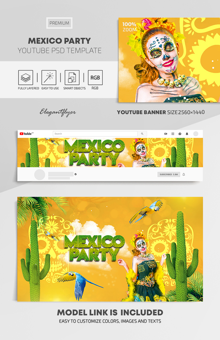 Mexico Party – Youtube Channel banner PSD Template