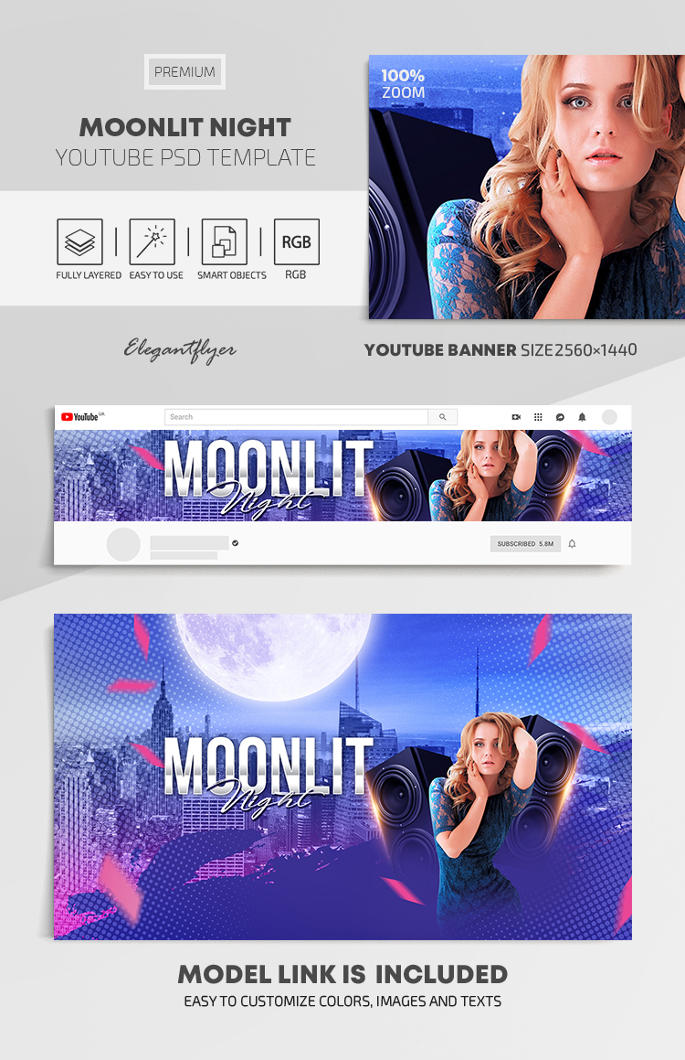 Moonlit Night – Youtube Channel banner PSD Template