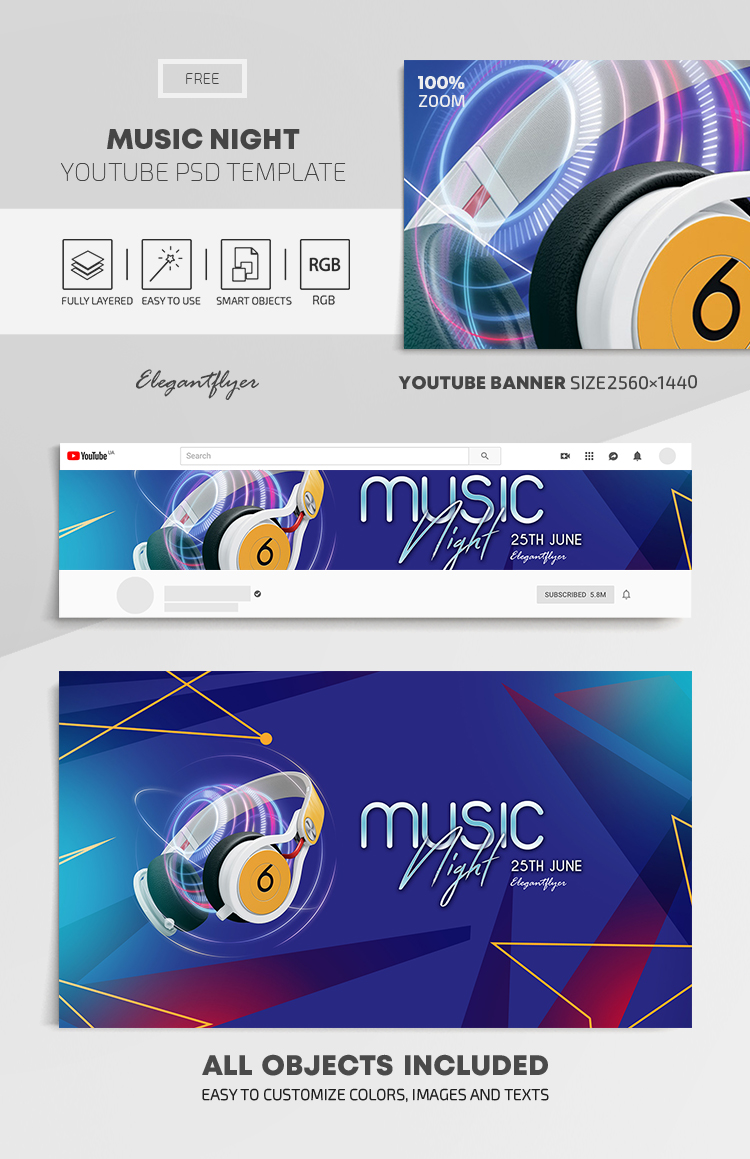 Music Night – Free Youtube Channel banner PSD Template