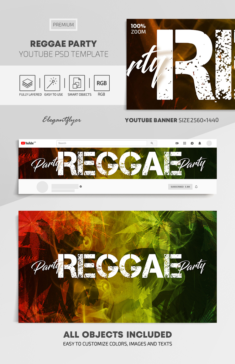Reggae Party – Youtube Channel banner PSD Template