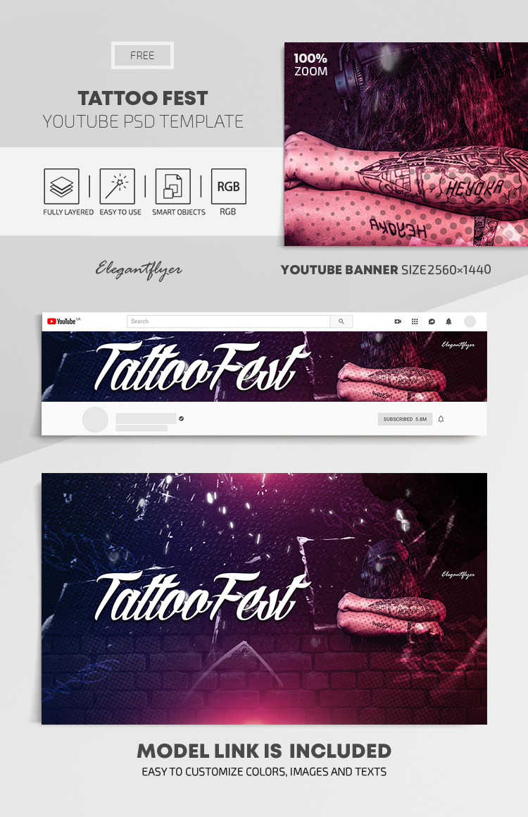 Tattoo Fest – Free Youtube Channel banner PSD Template