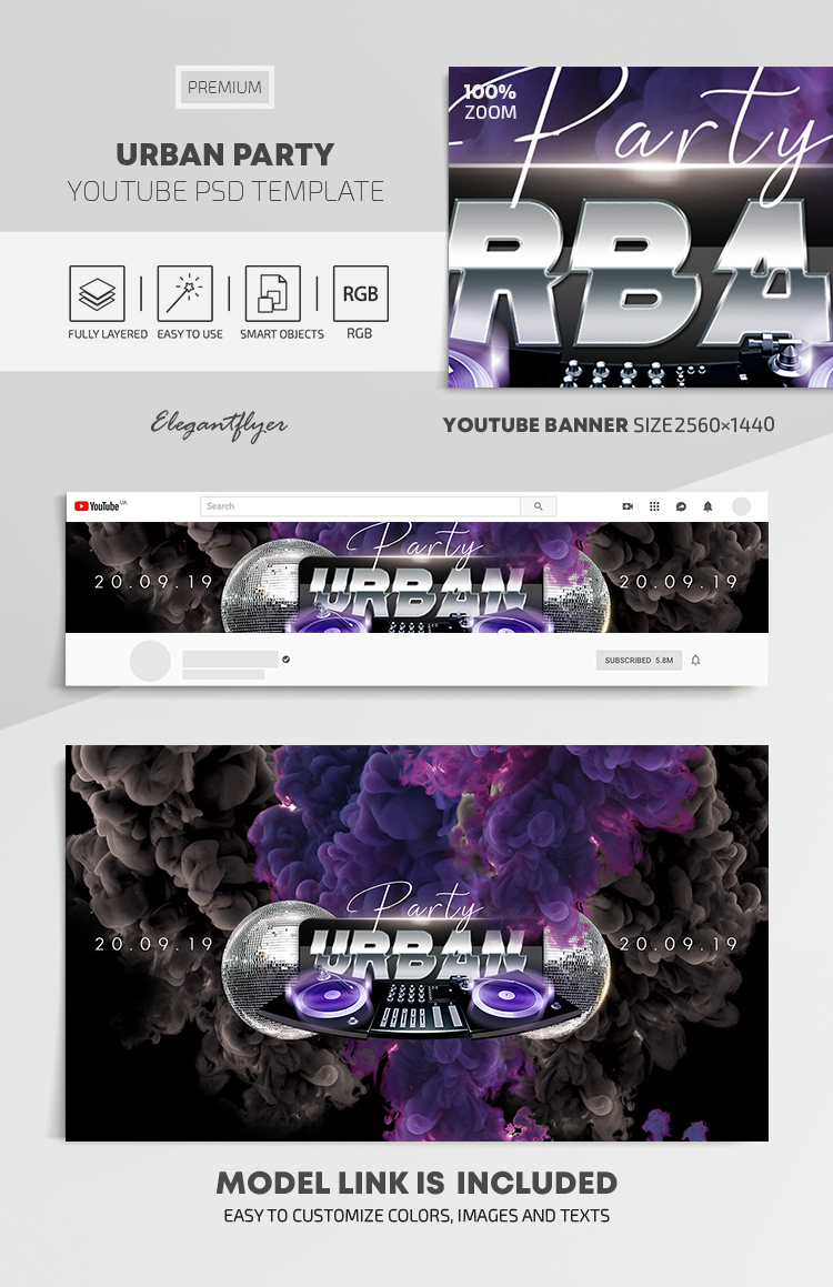 Urban Party – Youtube Channel banner PSD Template