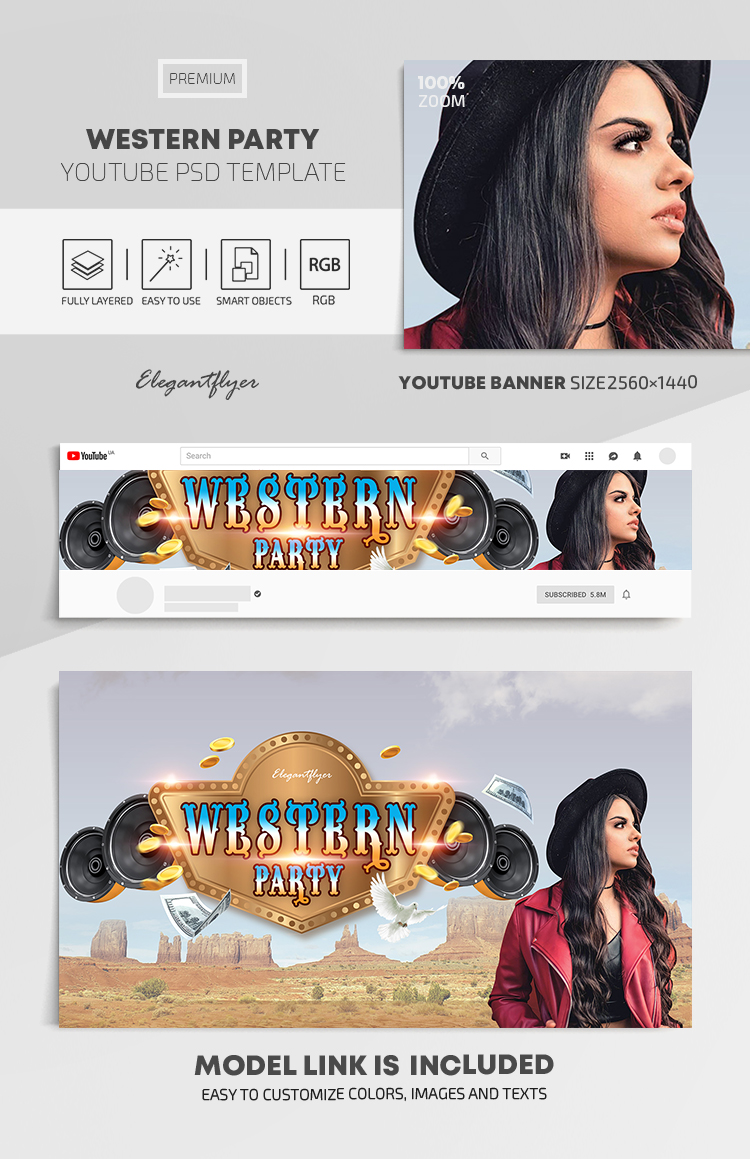 Western Party – Youtube Channel banner PSD Template