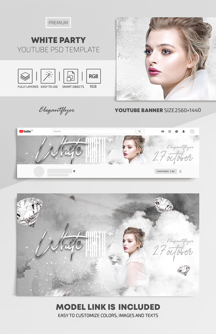 White Party – Youtube Channel banner PSD Template
