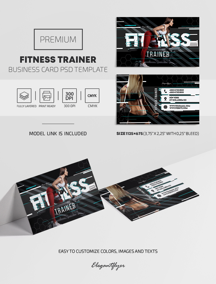 Fitness Trainer – Premium PSD Business Card Template