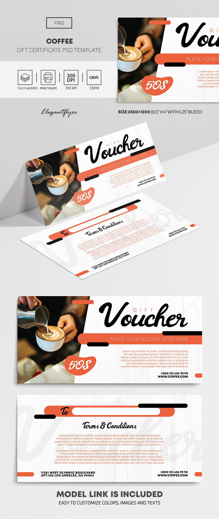 Coffee – Free Gift Certificate Template in PSD