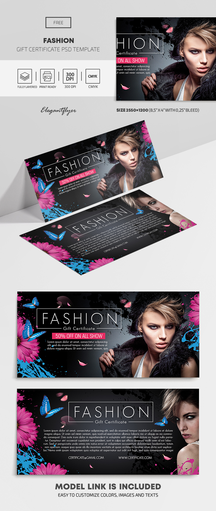 Fashion – Free Gift Certificate Template