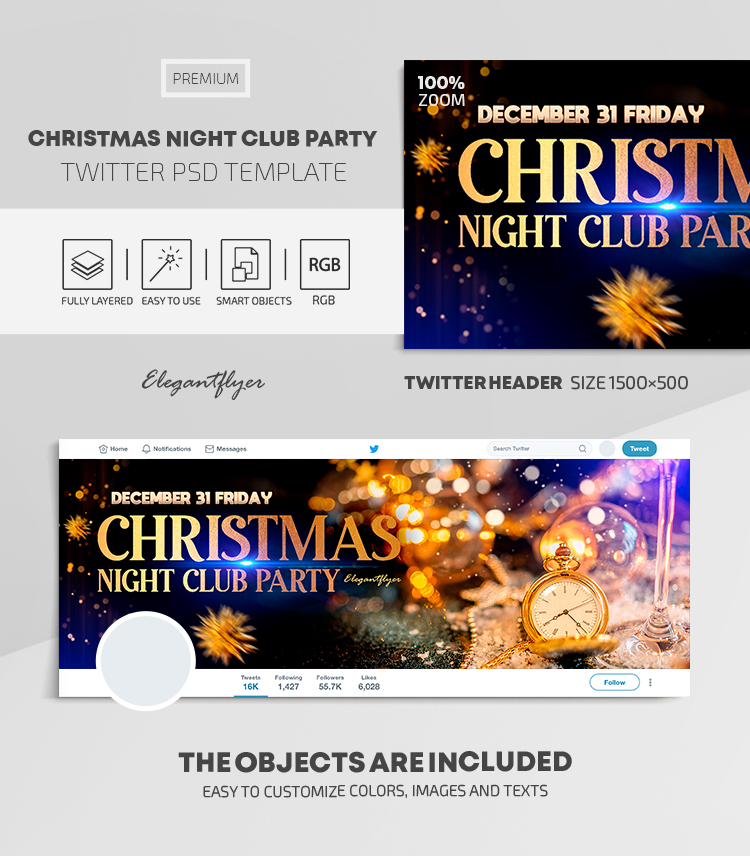 Christmas Night Club Party – Twitter Header PSD Template