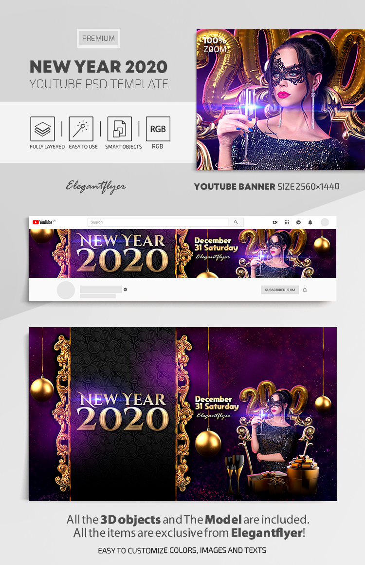 New Year 2020 – Youtube Channel banner PSD Template