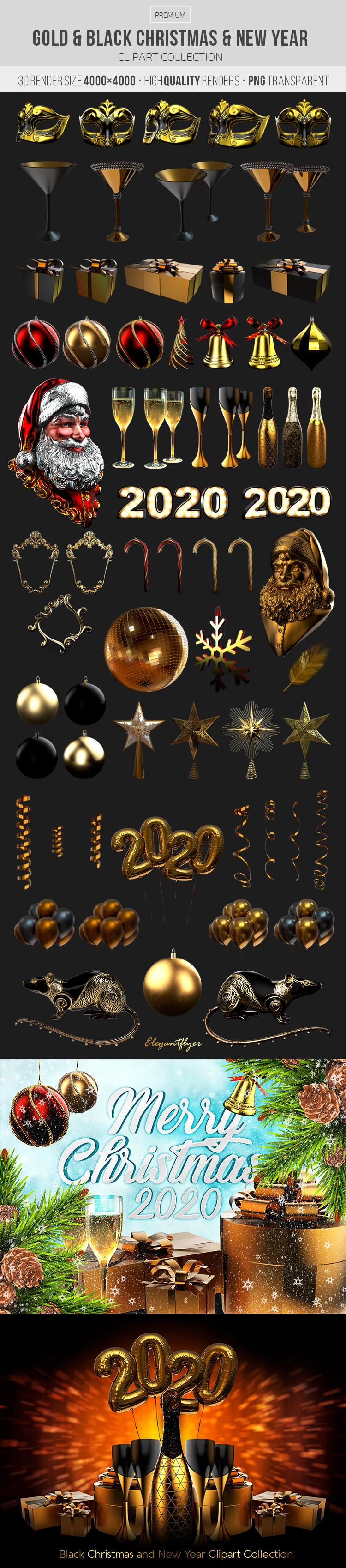 Gold and Black Christmas and New Year – Premium 3d Render Templates
