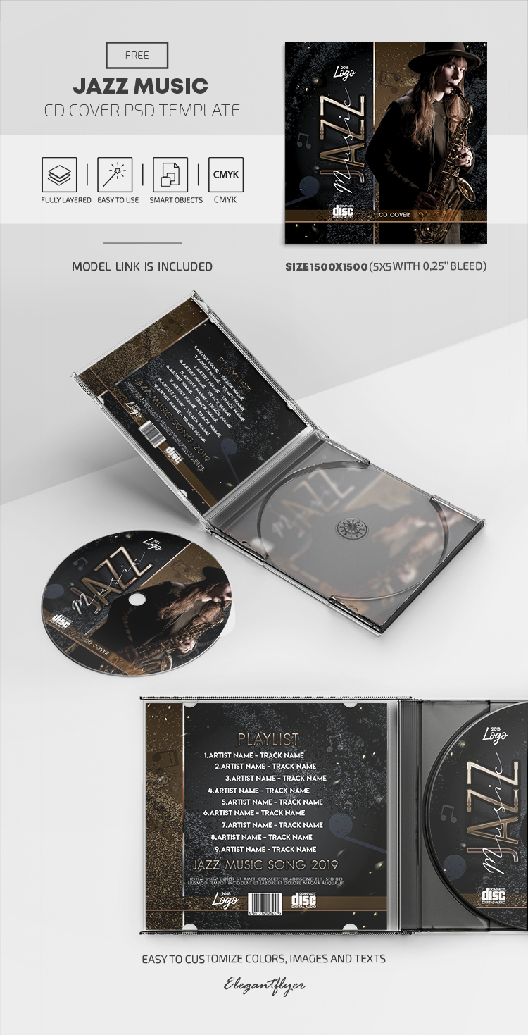 Jazz Music – Free PSD CD Cover Template