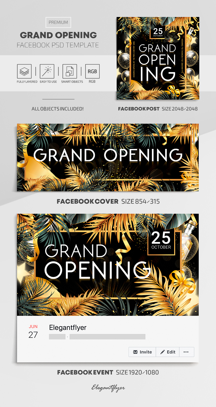 Grand Opening – Facebook Cover Template in Premium PSD + Post + Event cover