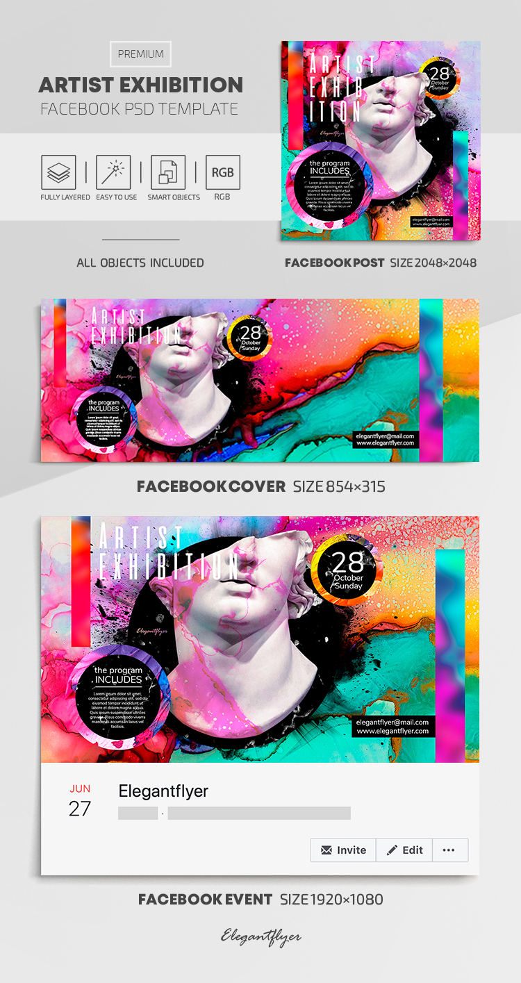 Artist Exhibition – Facebook Cover Template in PSD + Post + Event cover