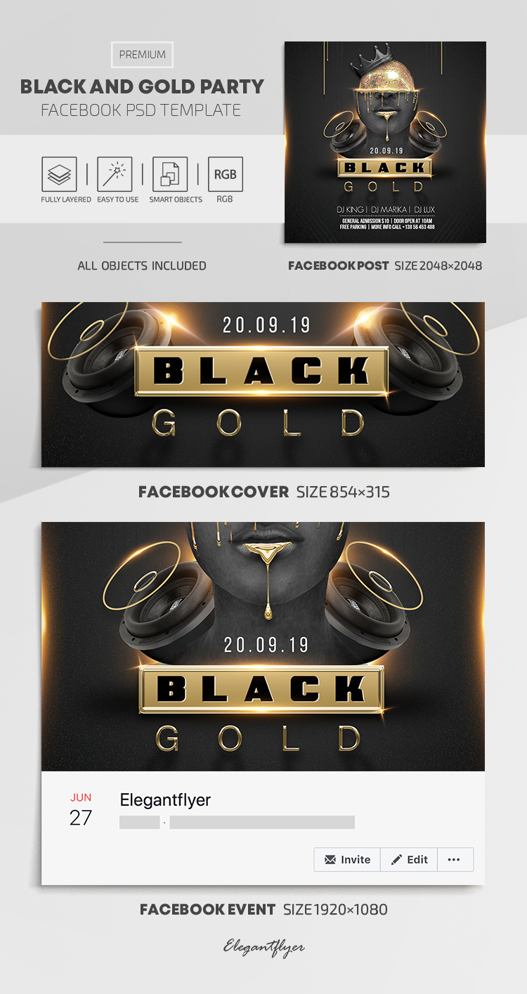 Black and Gold Party – Facebook Cover Template in PSD + Post + Event cover
