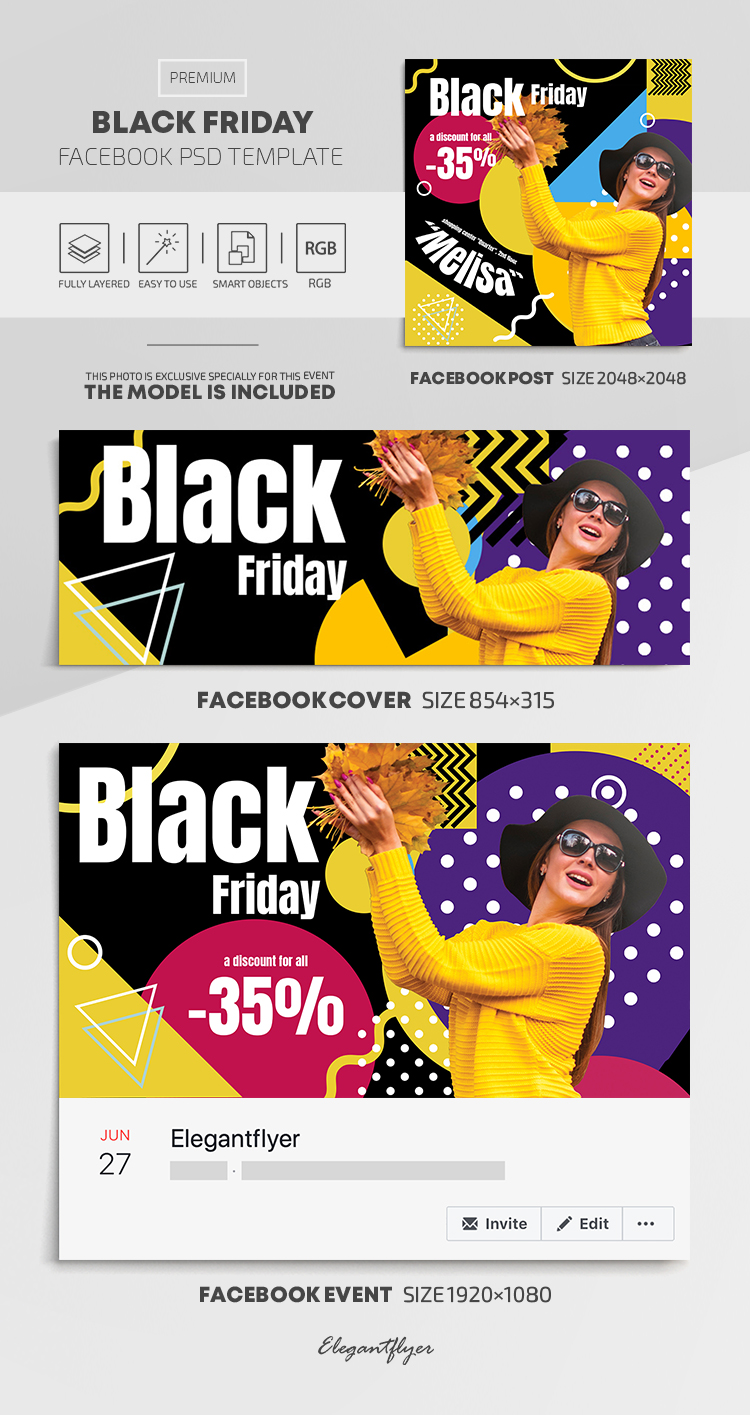 Black Friday – Facebook Cover Template in  Premium PSD + Post + Event cover