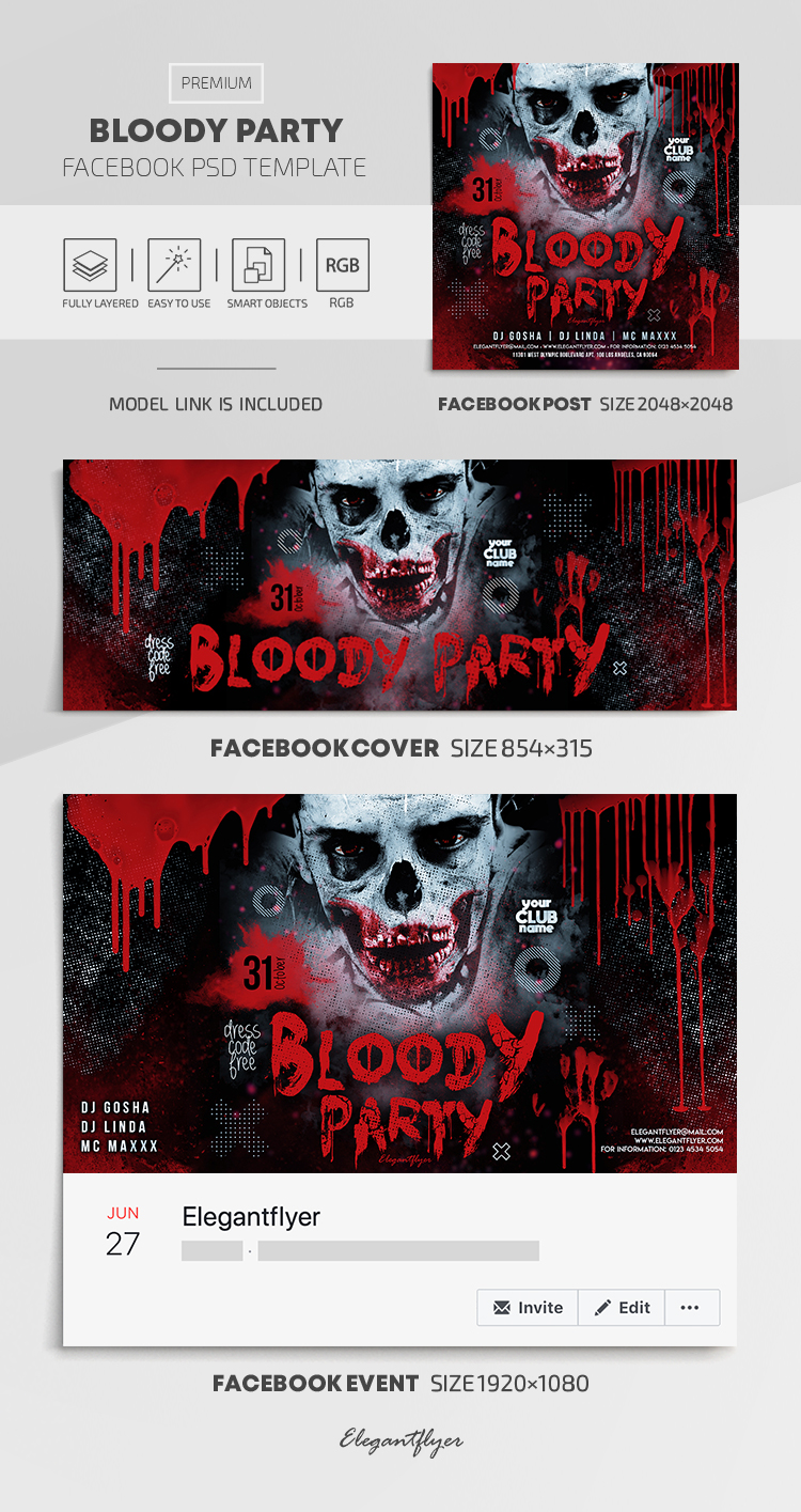 Bloody Party – Facebook Cover Template in PSD + Post + Event cover