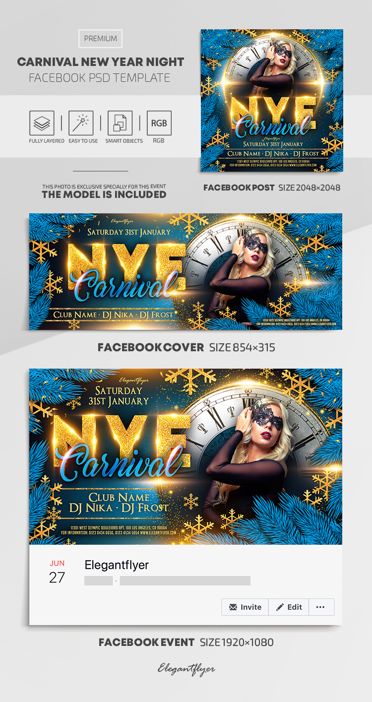 Carnival New Year Night – Facebook Cover Template in PSD + Post + Event cover