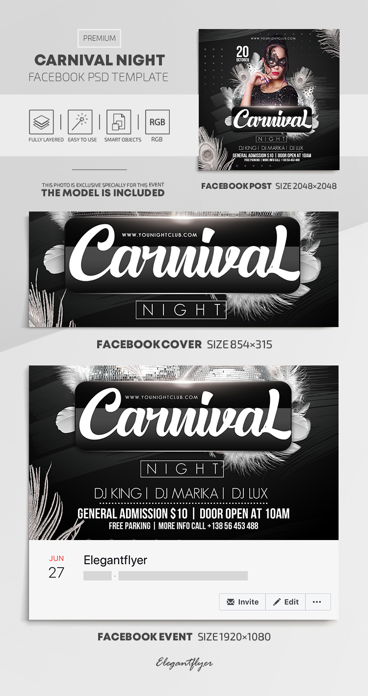 Carnival Night – Facebook Cover Template in PSD + Post + Event cover