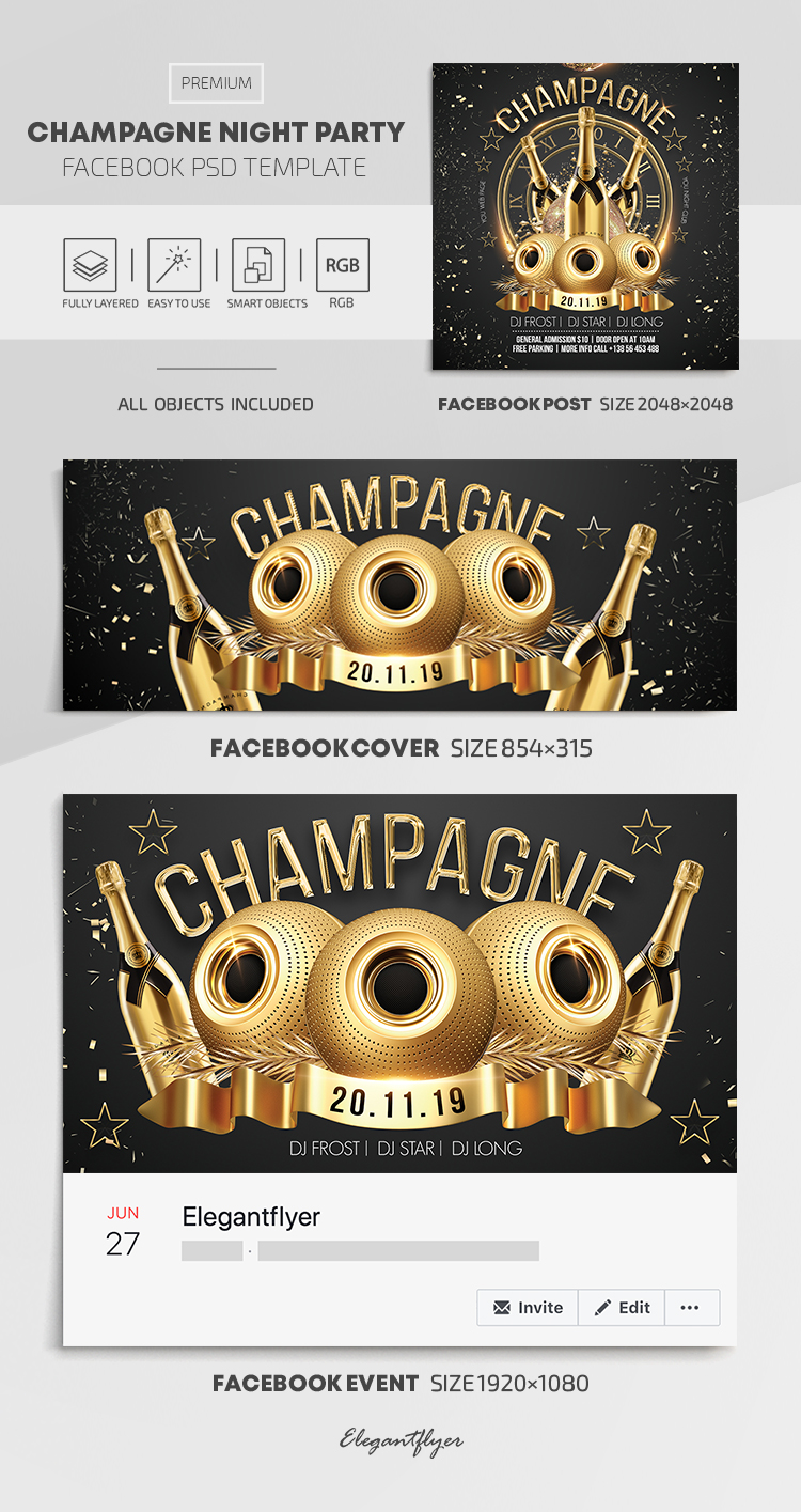 Champagne Night Party – Facebook Cover Template in PSD + Post + Event cover