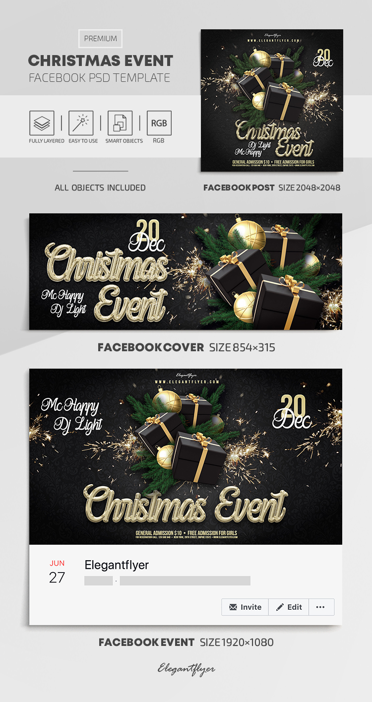 Christmas Event – Facebook Cover Template in PSD + Post + Event cover