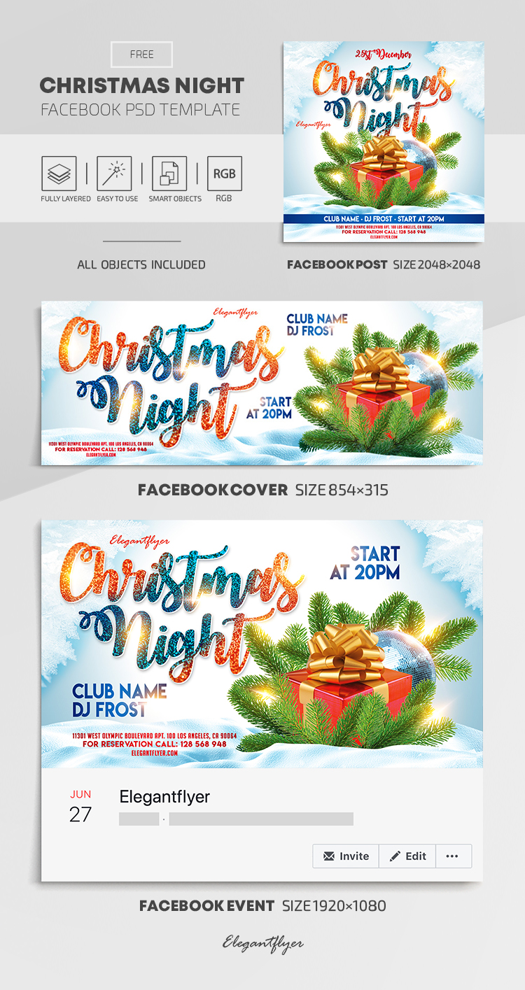 Christmas Night – Free Facebook Cover Template in PSD + Post + Event cover