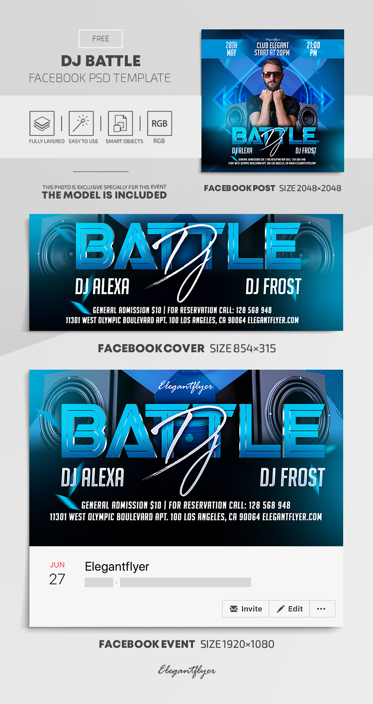 DJ Battle – Free Facebook Cover Template in PSD + Post + Event cover