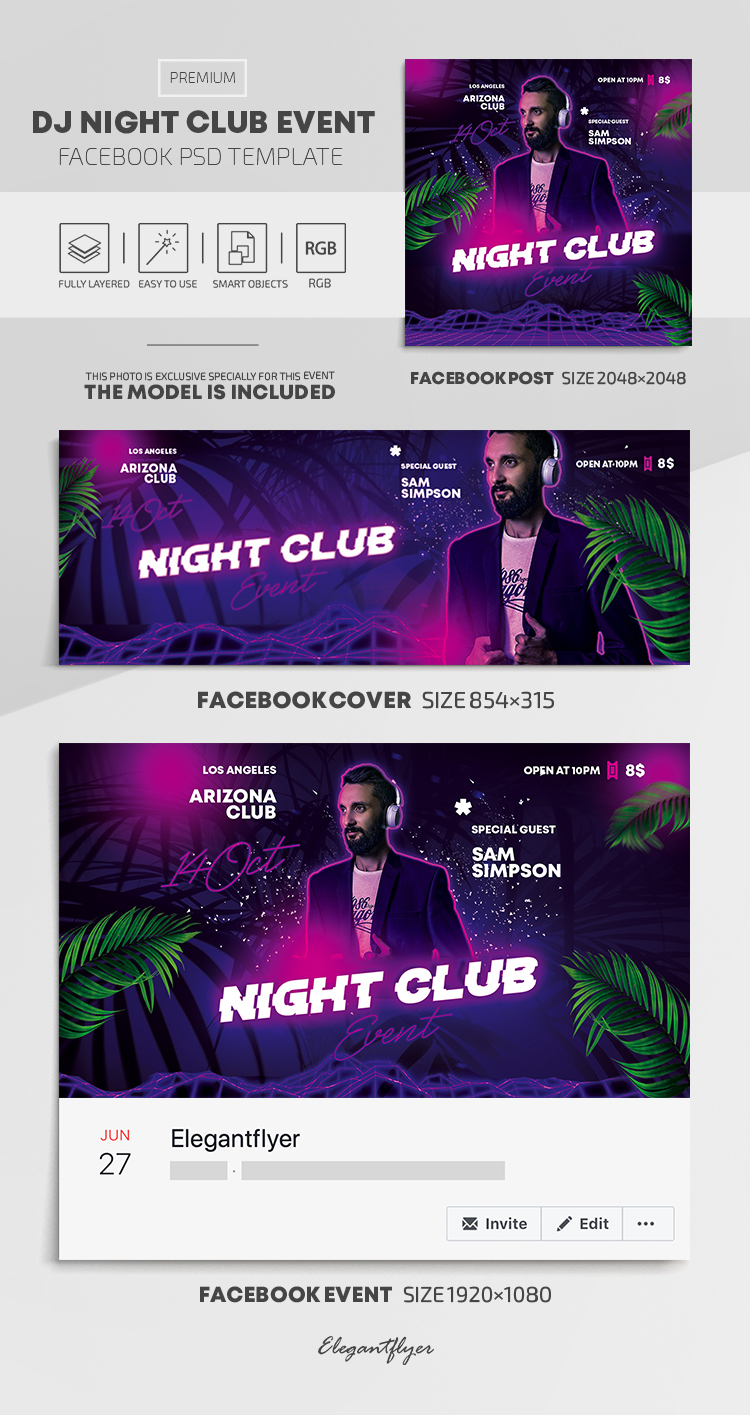 Dj Night Club Event – Facebook Cover Template in PSD + Post + Event cover