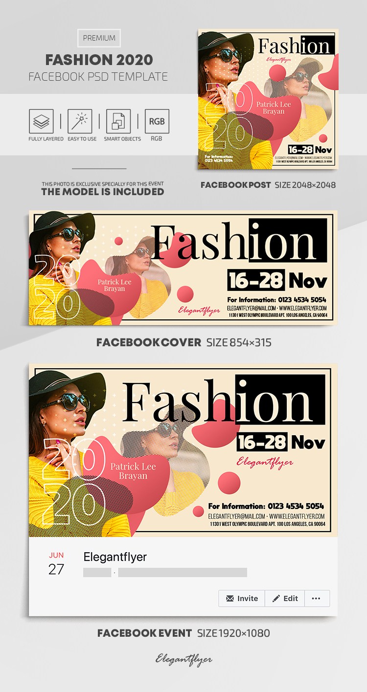 Fashion 2020 – Facebook Cover Template in PSD + Post + Event cover