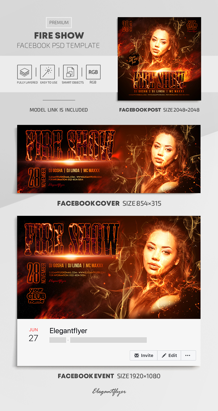 Fire Show – Facebook Cover Template in PSD + Post + Event cover