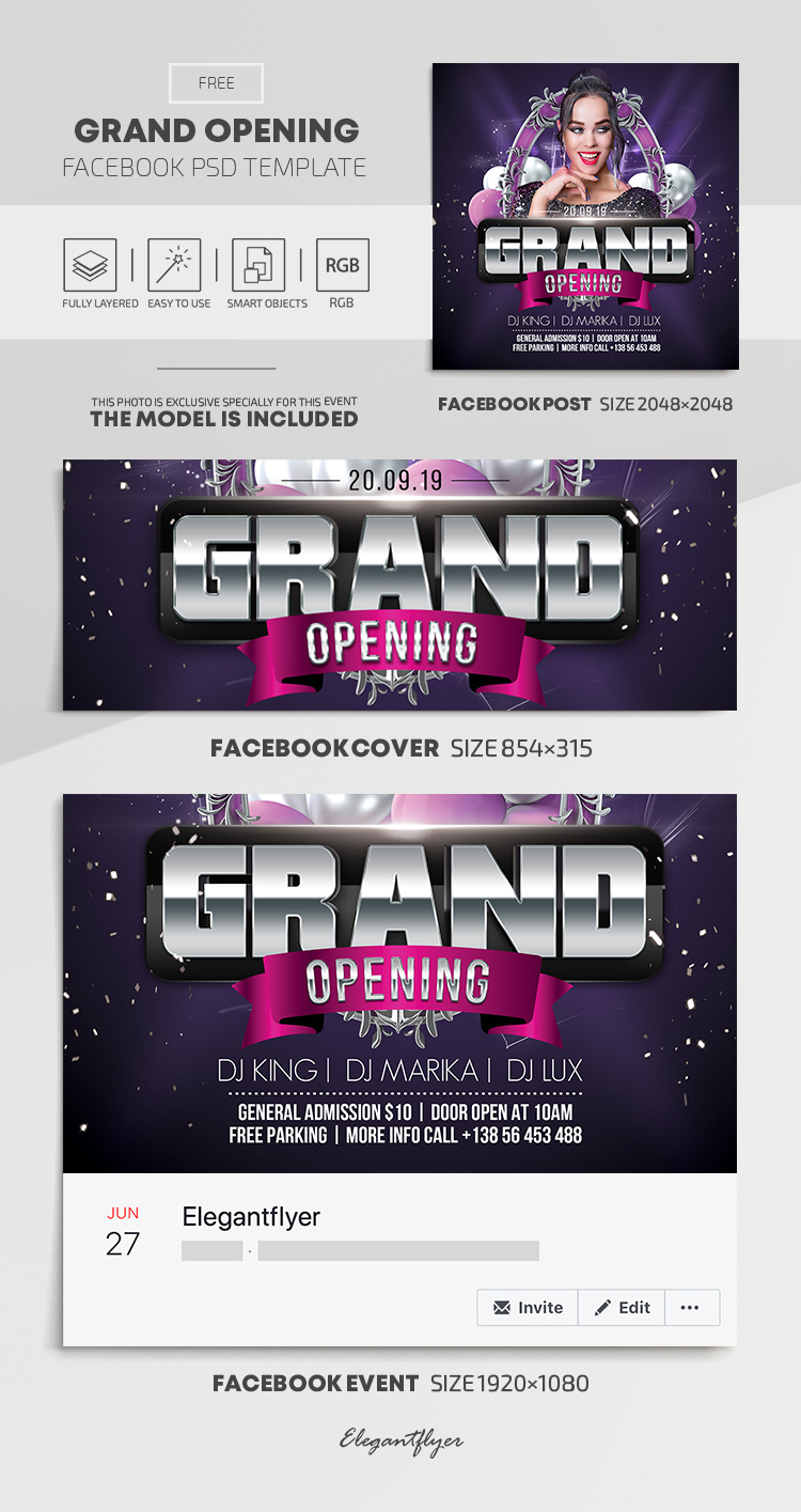 Grand Opening – Free Facebook Cover Template in PSD + Post + Event cover
