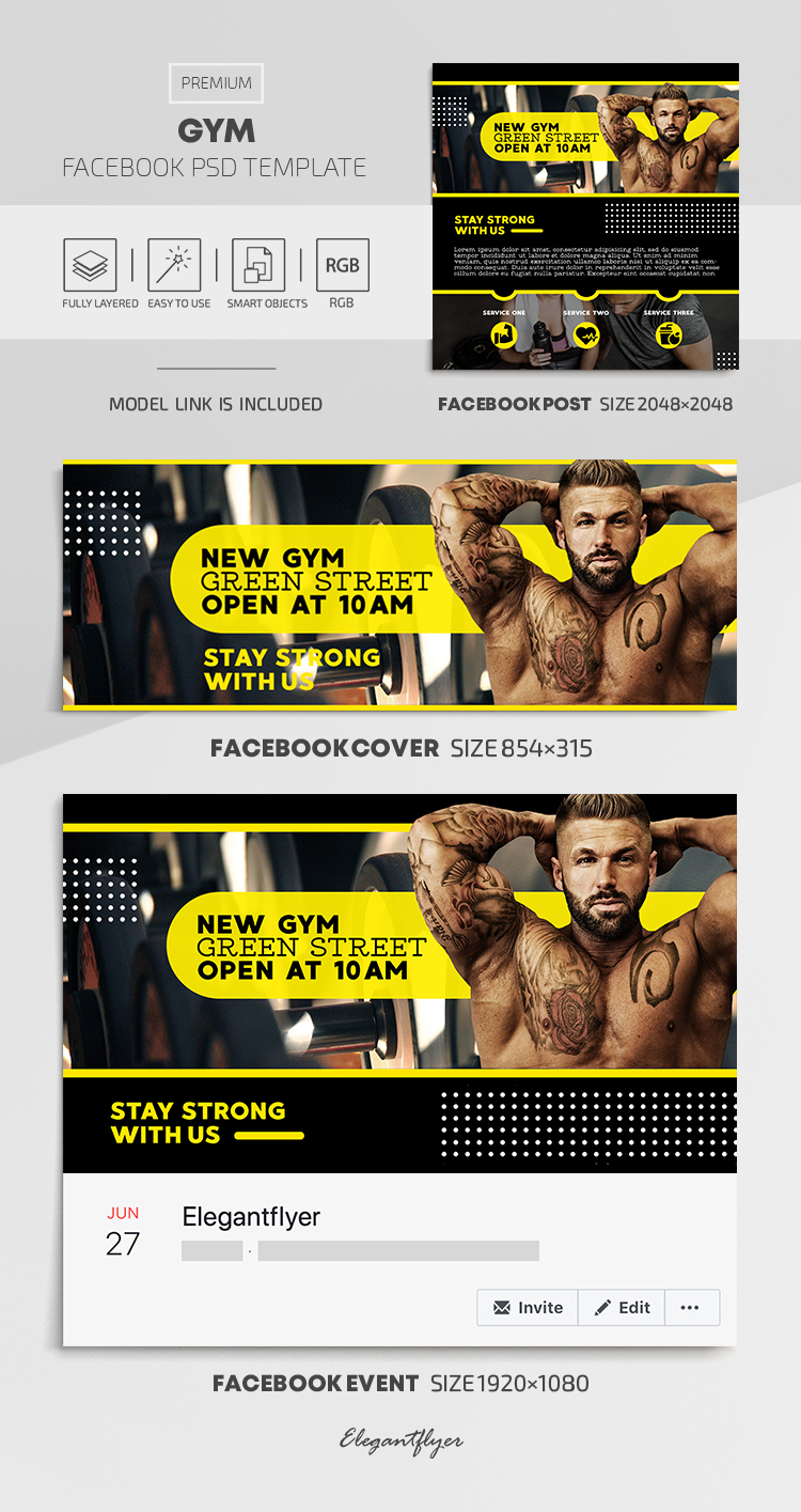 GYM – Facebook Cover Template in PSD + Post + Event cover