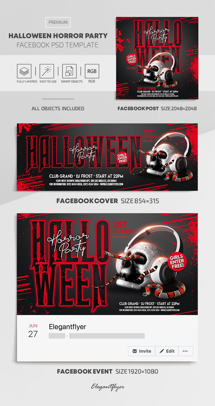 Halloween Horror Party – Facebook Cover Template in PSD + Post + Event cover