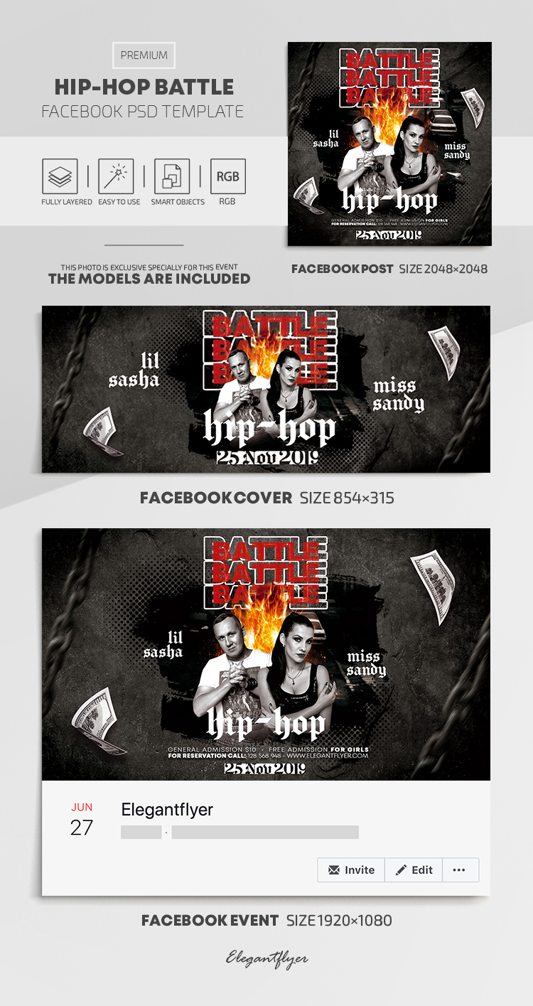 Hip-Hop Battle – Facebook Cover Template in PSD + Post + Event cover