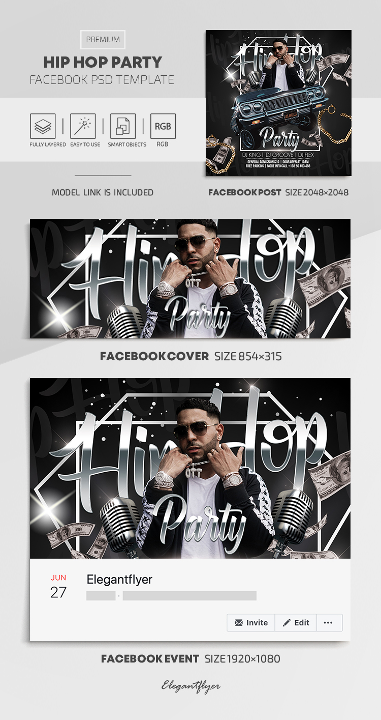 Hip Hop Party – Facebook Cover Template in PSD + Post + Event cover