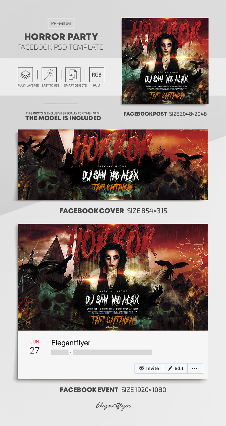 Horror Party – Facebook Cover Template in PSD + Post + Event cover