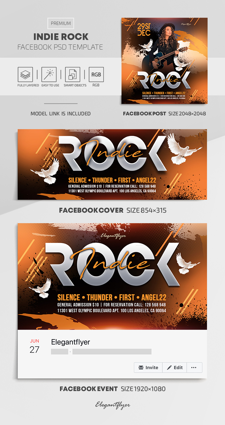 Indie Rock – Facebook Cover Template in PSD + Post + Event cover