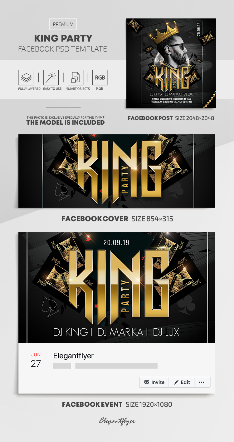King Party – Facebook Cover Template in PSD + Post + Event cover