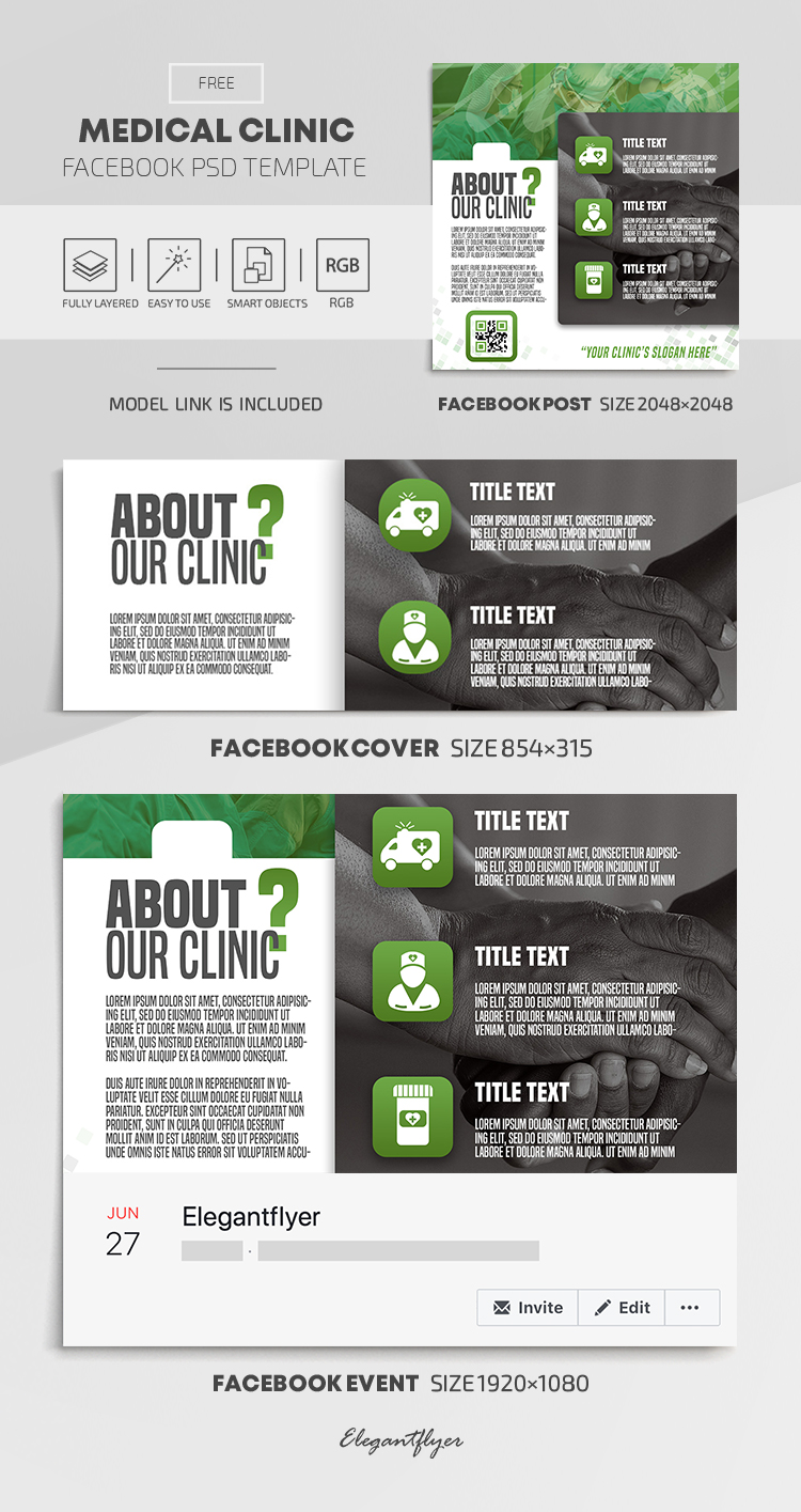 Medical Clinic – Free Facebook Cover Template in PSD + Post + Event cover