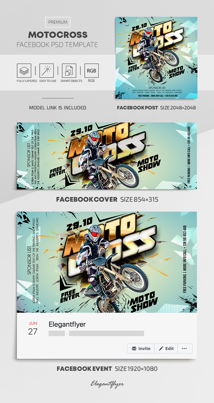 Motocross – Facebook Cover Template in PSD + Post + Event cover