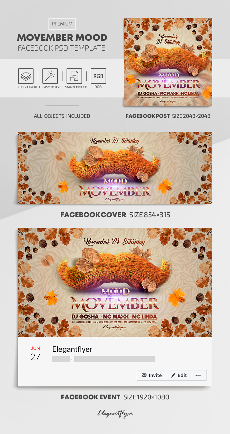 Movember Mood – Facebook Cover Template in PSD + Post + Event cover