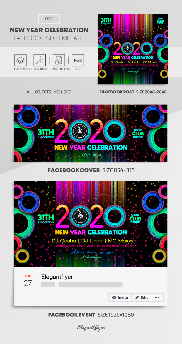 New Year Celebration – Free Facebook Cover Template in PSD + Post + Event cover