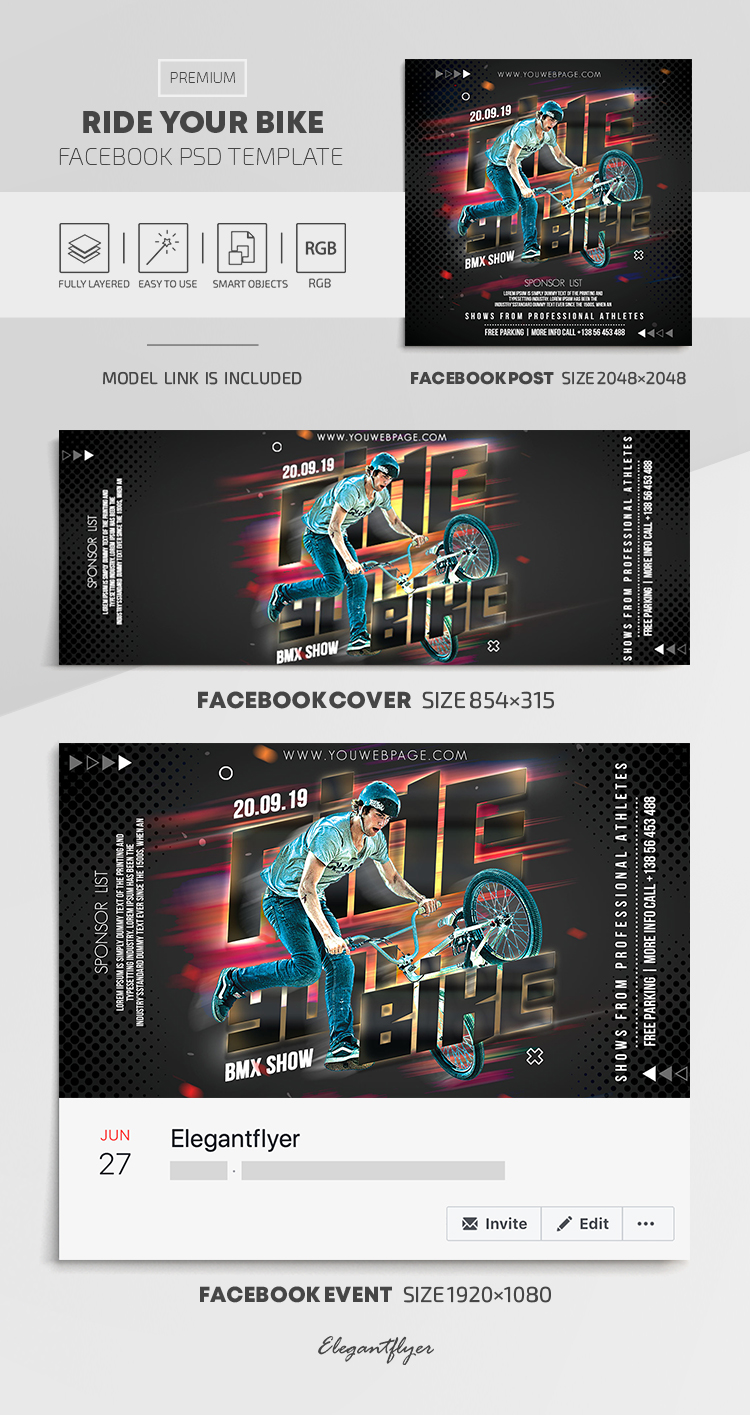 Ride Your Bike – Facebook Cover Template in PSD + Post + Event cover