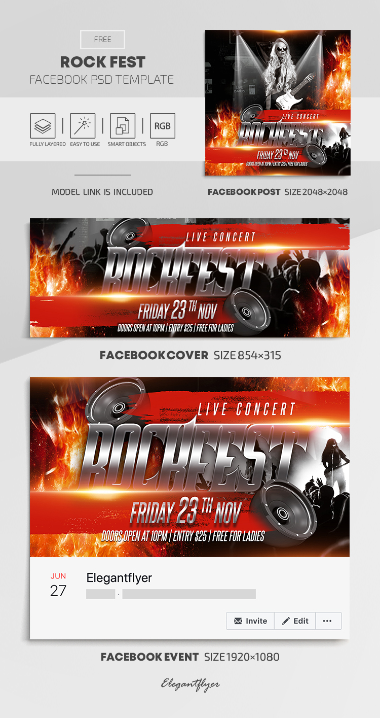 Rock Fest – Free Facebook Cover Template in PSD + Post + Event cover