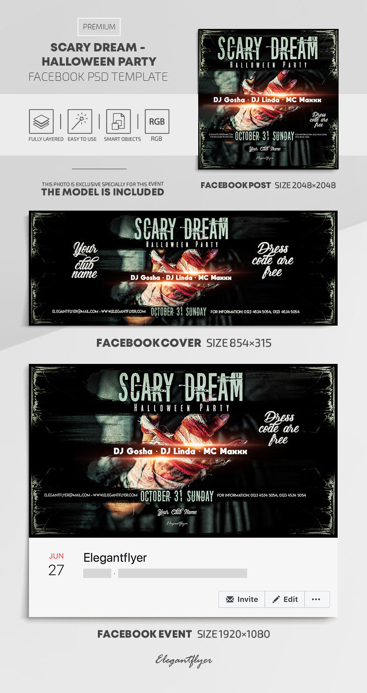 Scary Dream – Halloween Party – Facebook Cover Template in PSD + Post + Event cover