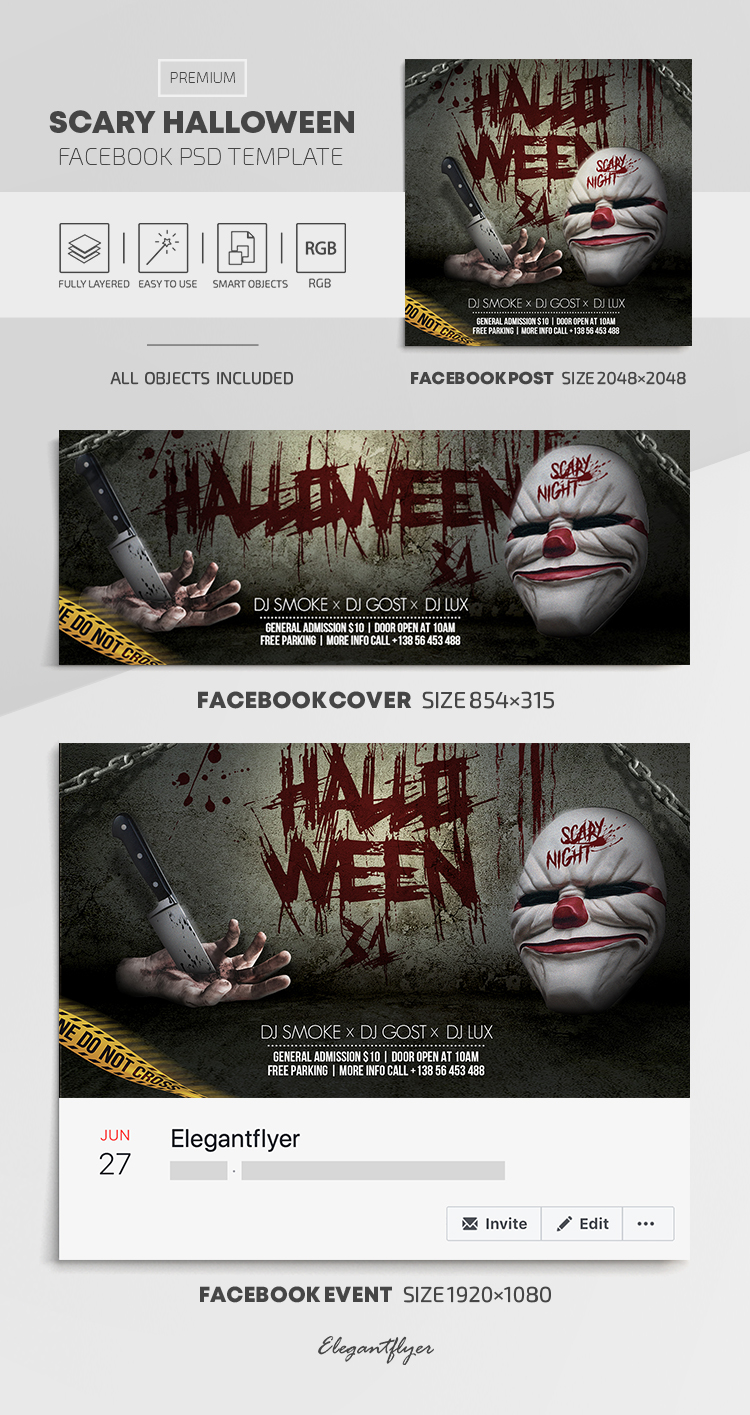 Scary Halloween – Facebook Cover Template in PSD + Post + Event cover