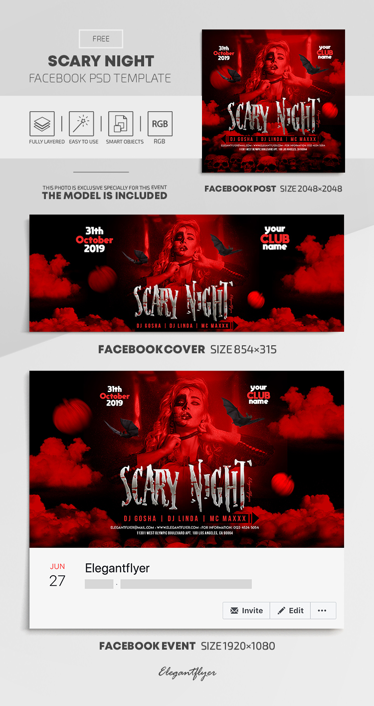 Scary Night – Free Facebook Cover Template in PSD + Post + Event cover
