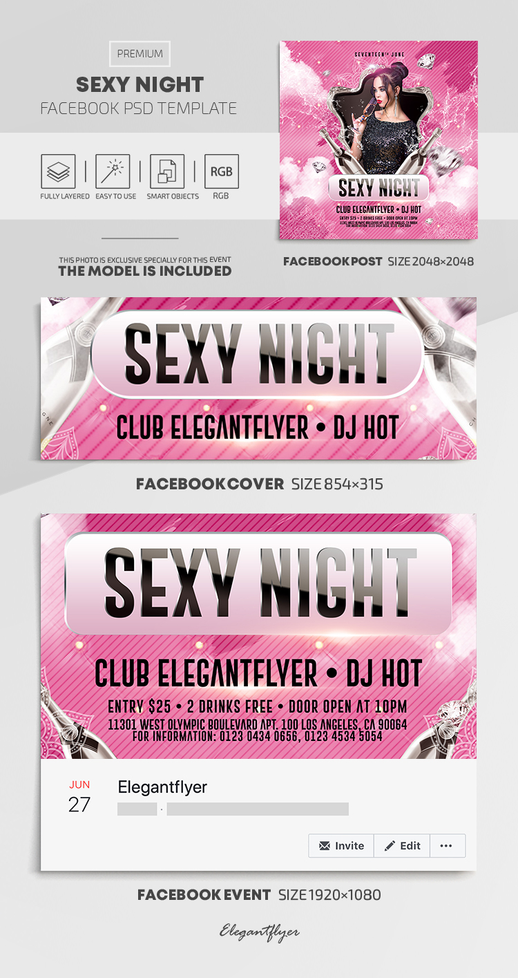 Sexy Night – Facebook Cover Template in PSD + Post + Event cover