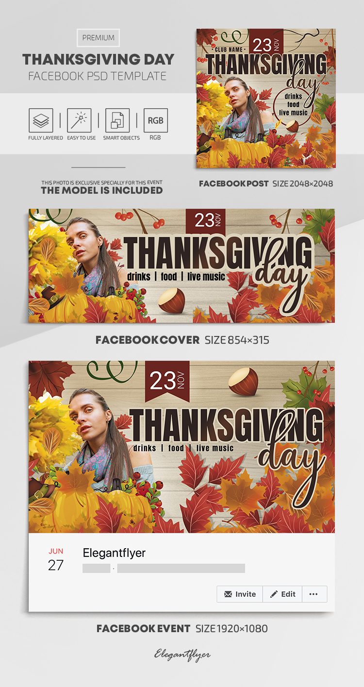 Thanksgiving Day – Facebook Cover Template in Premium PSD + Post + Event cover