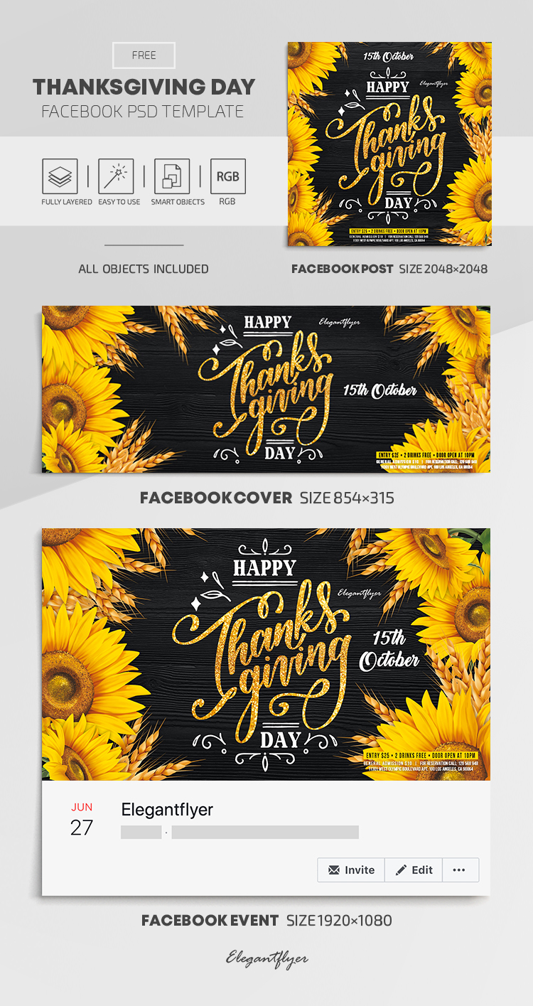 Thanksgiving Day – Free Facebook Cover Template in PSD + Post + Event cover