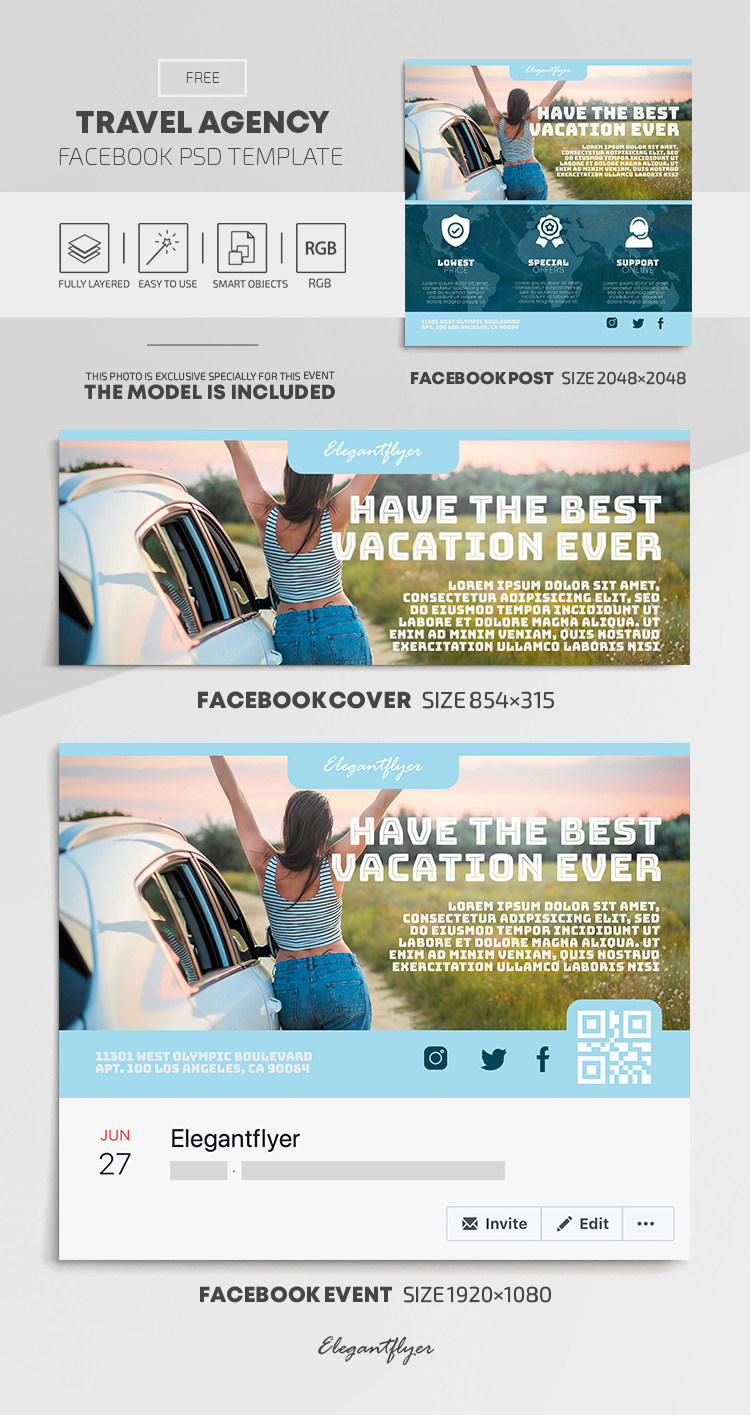 Travel Agency – Free Facebook Cover Template in PSD + Post + Event cover